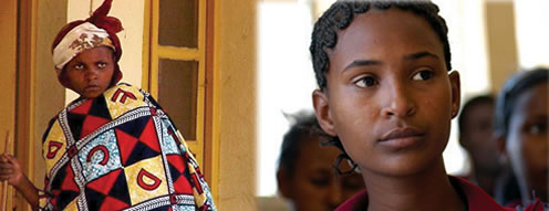 two photos: Woman in native garb, Rwanda; Eritrea, girl close up